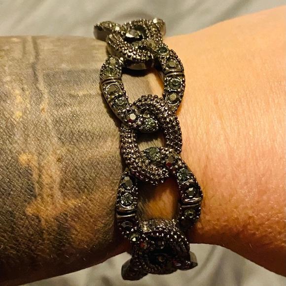 Liq Sophia stretch bracelet in dark silver